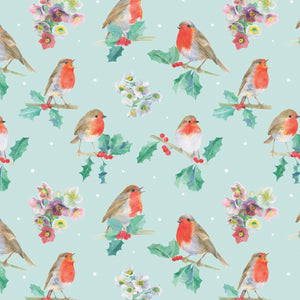 Robin robins and holly and helebores Christmas gift wrapping paper by Ceinwen Campbell and The Arty Penguin