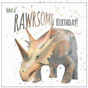Dinosaur birthday card  for boys and girls