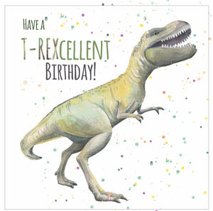 T Rex dinosaur birthday card for girls and boys