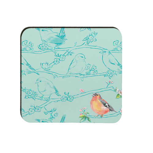 Garden birds chaffinch coaster Ceinwen Campbell The Arty Penguin