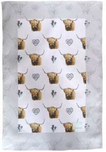 Highland Cow Scottish tea towel made in Britain Ceinwen Campbell The Arty Penguin