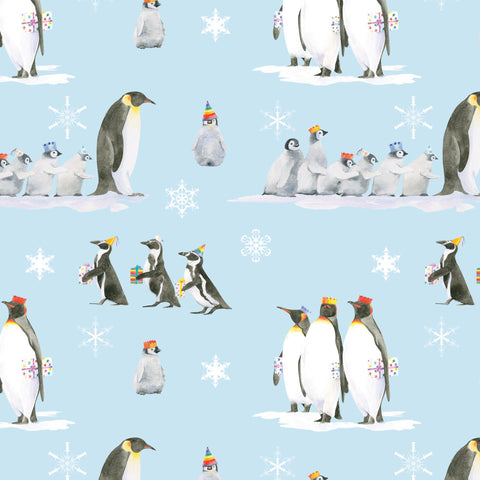 Penguin Christmas gift wrapping paper