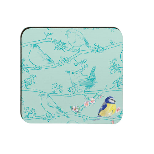 Garden birds blue tit coaster by Ceinwen Campbell and The Arty Penguin