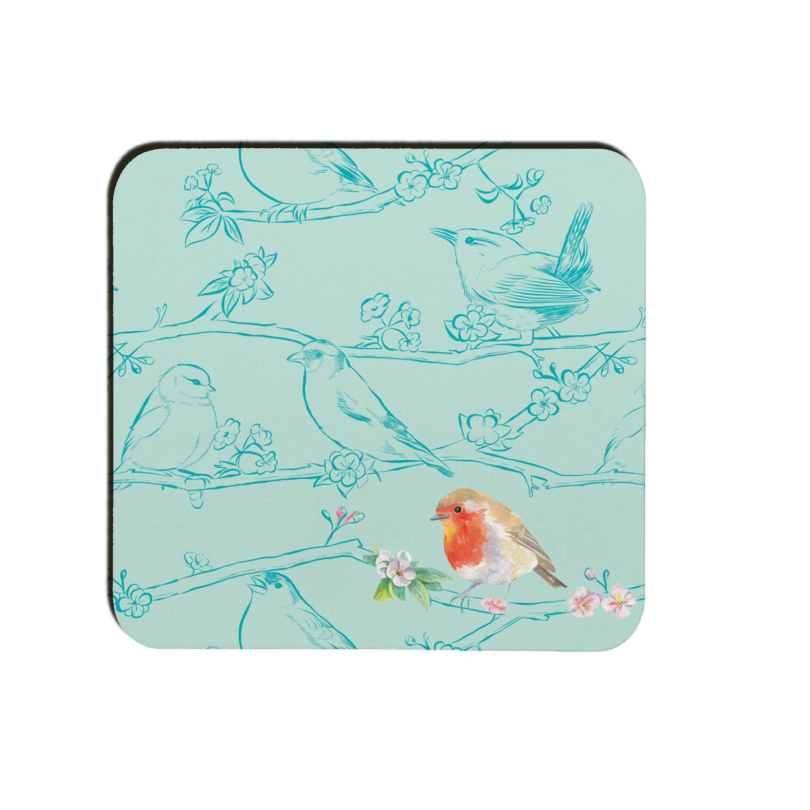 Garden birds robin coaster Ceinwen Campbell The Arty Penguin