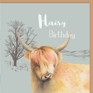 "Highland Cow ""Hairy Birthday"" Card"
