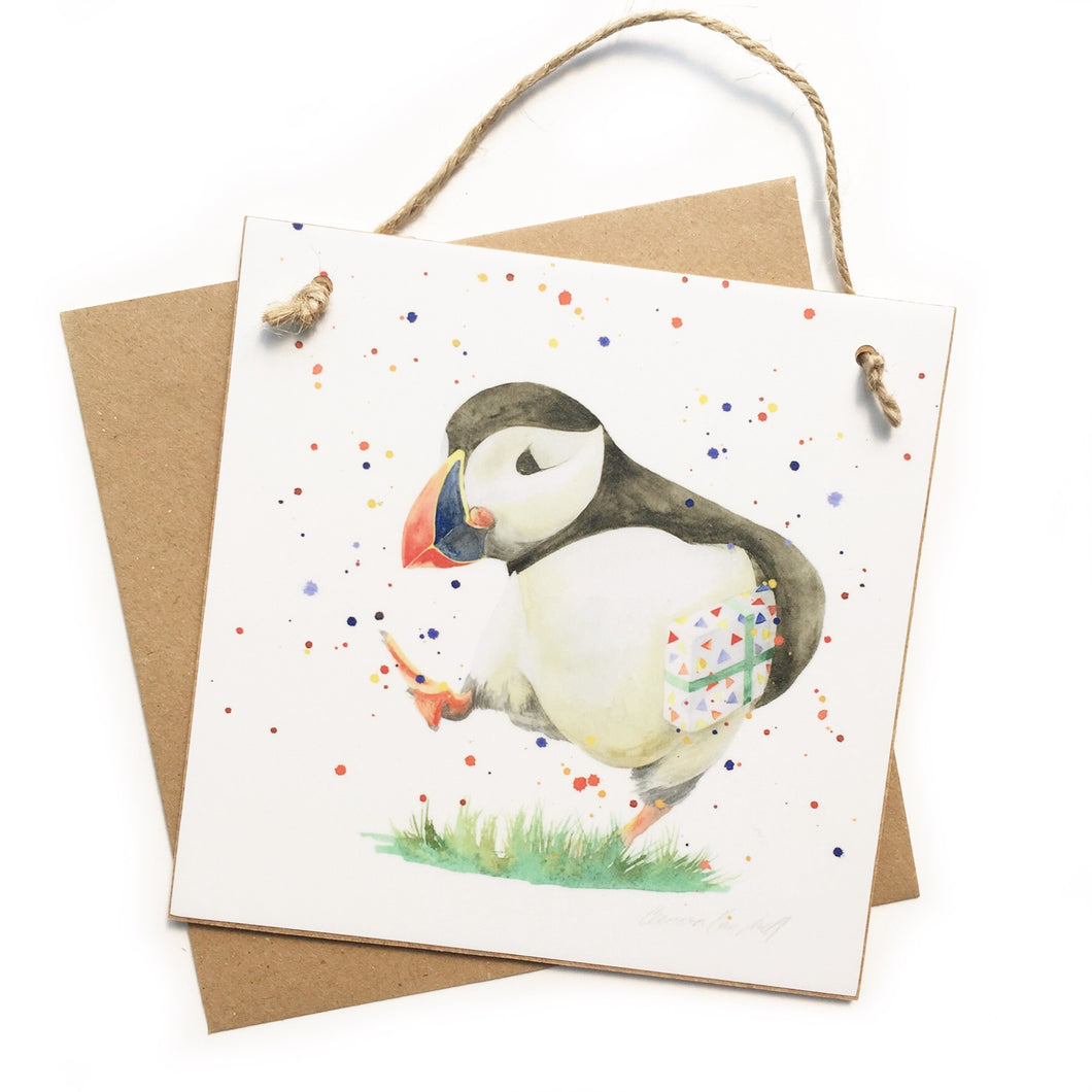 Puffin and present Keepsake 'Card'
