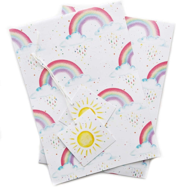 Rainbow and sun shine gift wrapping paper 2 sheets and 2 tags