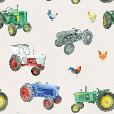 Vintage Tractors and chickens gift wrapping paper by Ceinwen Campbell and The Arty Penguin