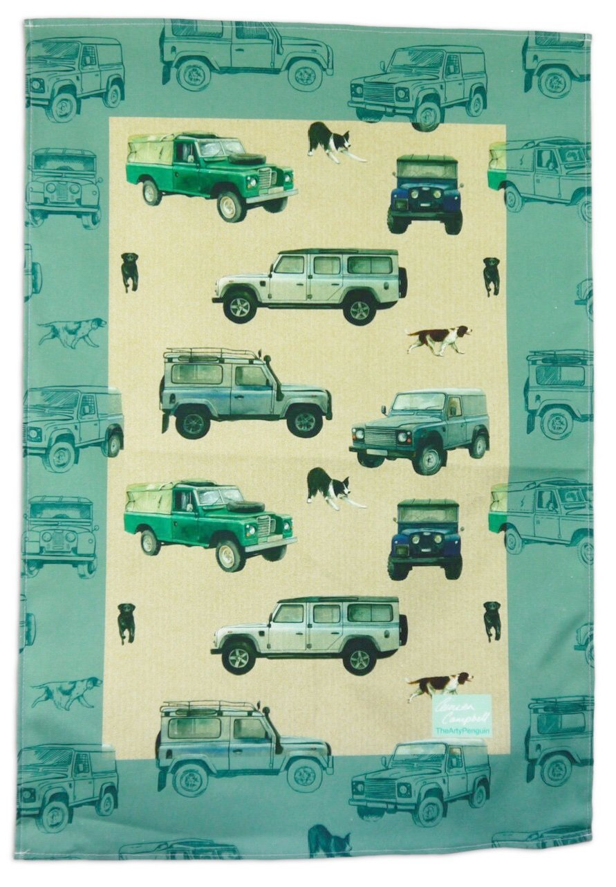 defender off roader 4 x 4 gift tea towel Christmas birthday By Ceinwen Campbell and The Arty Penguin