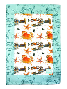 lobster crab starfish mussel gift tea towel by Ceinwen Campbell and The Arty Penguin