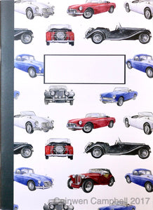 MG classic vintage cars jotter by Ceinwen Campbell and The Arty Penguin