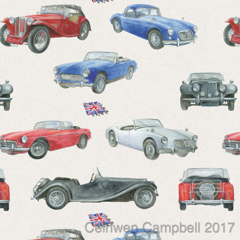 MG classic vintage car gift wrapping paper