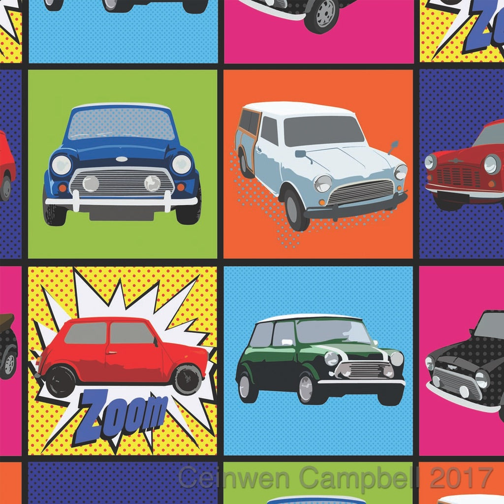 Classic Mini Cooper gift wrapping paper by Ceinwen Campell and The Arty Penguin