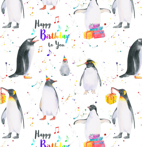 penguin birthday gift wrap wrapping birthday paper arty penguin Ceinwen