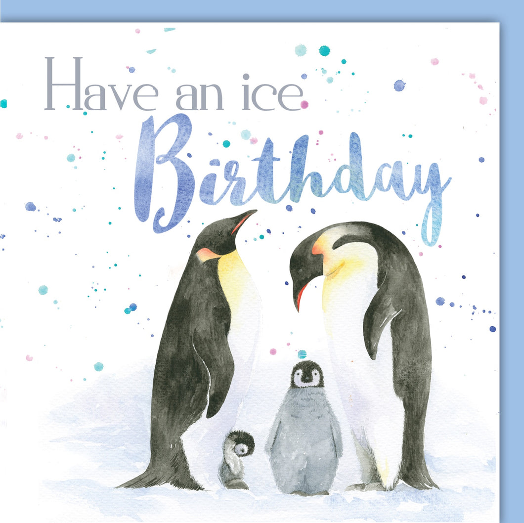 Penguin family pun birthday card by Ceinwen Campbell and The Arty Penguin