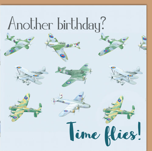 Bomber planes birthday card by Ceinwen Campbell and the The Arty penguin