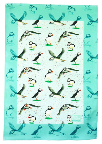 puffin sea bird gift tea towel Christmas gift by Ceinwen Campbell and The Arty Penguin