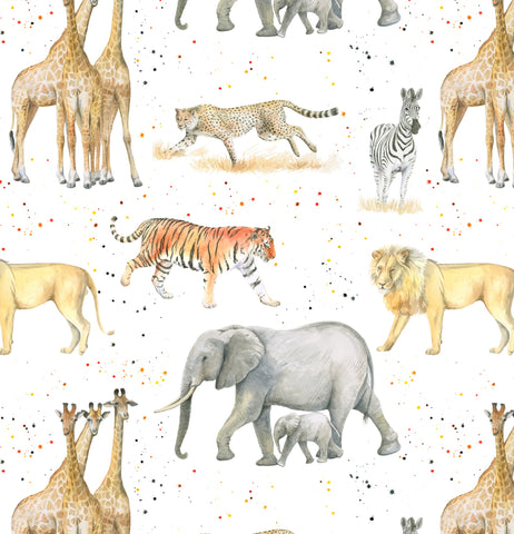 Giraffes, lions, tigers, zebras, cheetahs gift wrapping by Ceinwen Campbell and The Arty Penguin