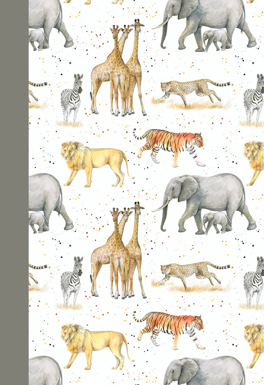 Elephant lion tiger giraffe cheetah gift wrapping by Ceinwen Campbell and The Arty Penguin