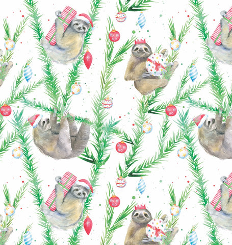 Christmas sloth gift wrapping present paper Ceinwen Campbell
