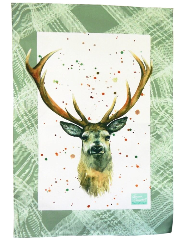 stag deer Scottish tea towel Christmas gift by Ceinwen Campbell and The Arty Penguin