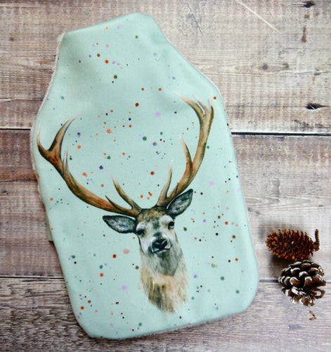 stag deer hot water bottle Christmas present By Ceinwen Campbell and The Arty Penguin