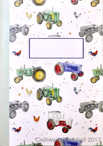 tractor and chicken jotter by Ceinwen Campbell and The Arty Penguin