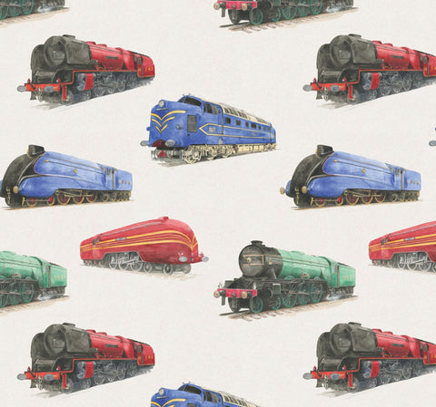 Train gift wrapping paper by Ceinwen Campbell and The Arty Penguin