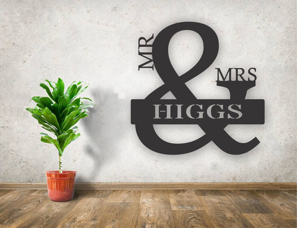 Personalized Mr. and Mrs. Wood Cutout Sign