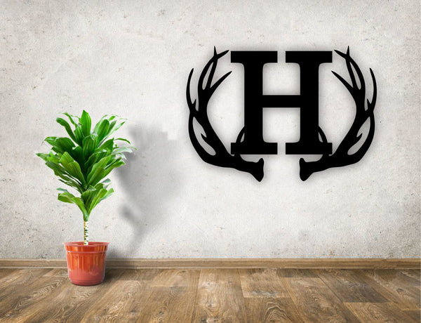 Personalized Rustic Antler Monogram Wood Cutout Sign