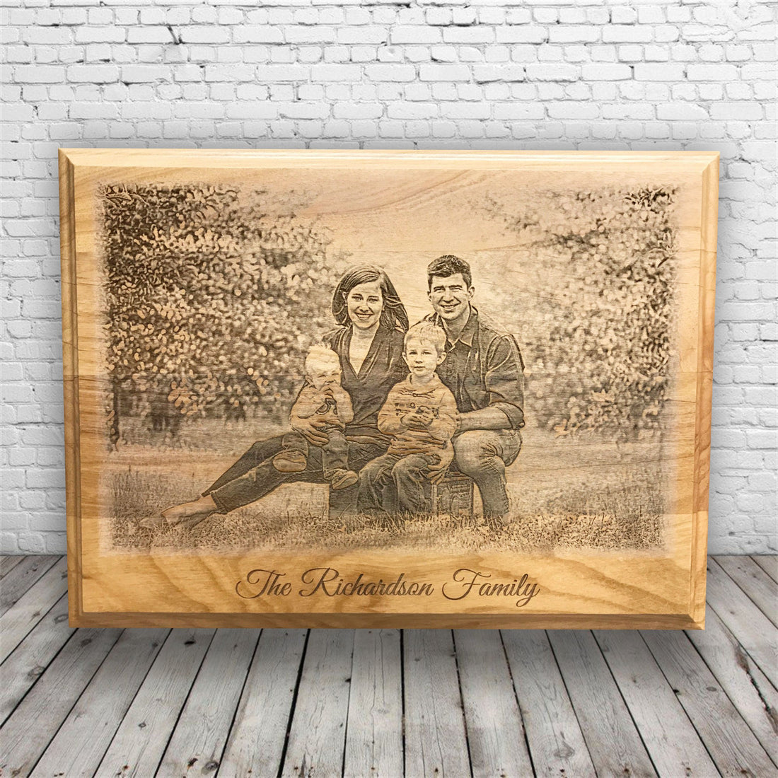 Custom Engraved Photo on Wood Plaque