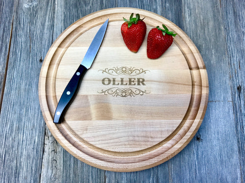 "12"" Maple John Boos Custom Engraved Circle Wood Cutting Board"