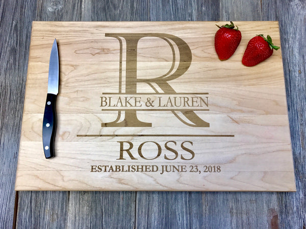 18x12x1.5 John BOOS BBQ Cutting Board Personalized Handles *Custom Engraved Family Monogram Anniversary Wedding Hostess Housewarming BBQ Gift Personalized*