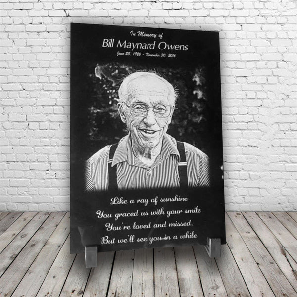 Custom Engraved Funeral/Memorial Black Marble Plaque