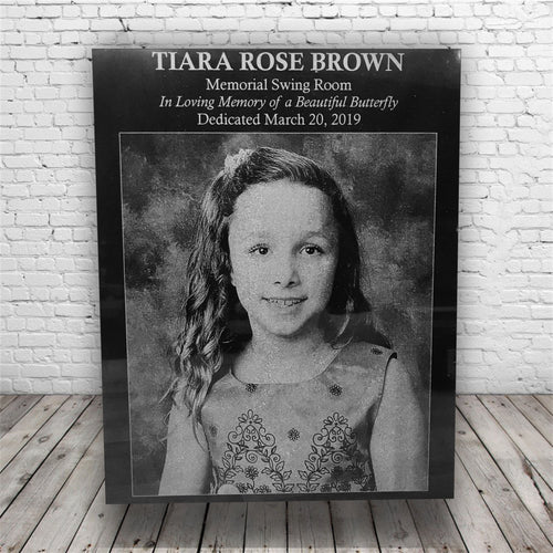 Personalized/Custom Engraved Funeral/Memorial Sympathy Gift Black Marble Plaque with Photo *Gift for Funeral*