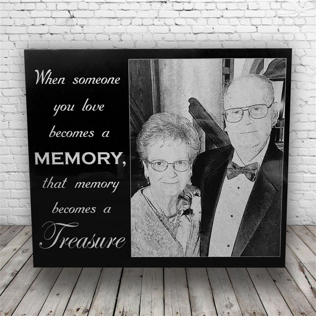 Custom Engraved Funeral/Memorial Sympathy Gift Black Marble Plaque with Photo *Gift for Funeral*