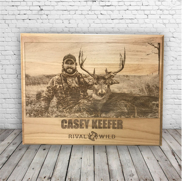 Engraved Hunting Photo on Wood Plaque