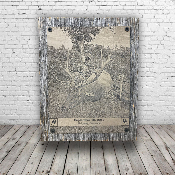 Hunting Photo Engraved on Leather Barnwood Plaque