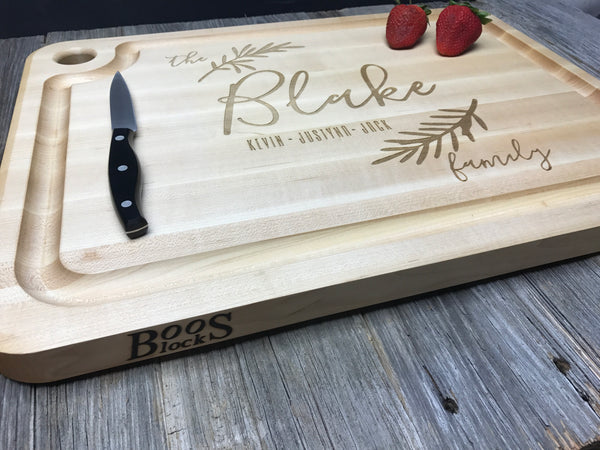 Personalized John Boos Cutting Board with Juice Groove *Custom Engraved Family Monogram Anniversary Wedding Hostess Housewarming BBQ Gift