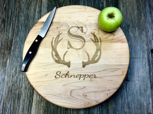 "12"" John Boos Round Maple Wood Butcher Block with Feet Personalized/Custom Engraved"
