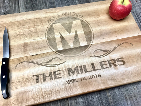 18x12x1.5 John BOOS BBQ Maple Wood Cutting Board Handles *Custom Engraved Family Monogram Anniversary Wedding Hostess Housewarming BBQ Gift Personalized*
