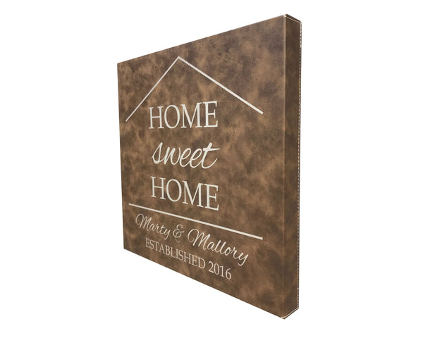 Home Sweet Home Personalized Leather Wall Decor 14x14