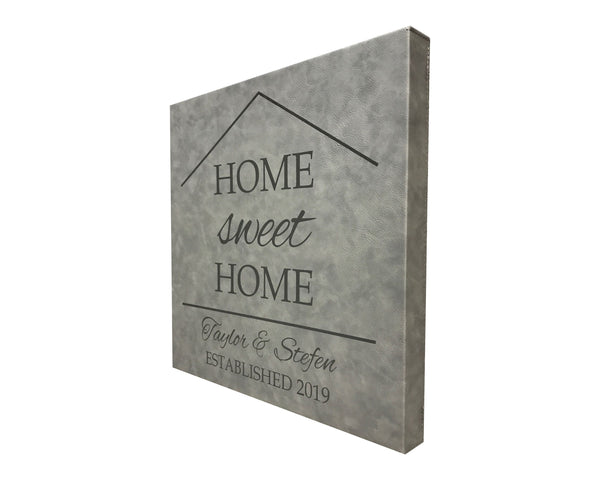 Home Sweet Home Personalized Grey Leather Wall Decor 14x14