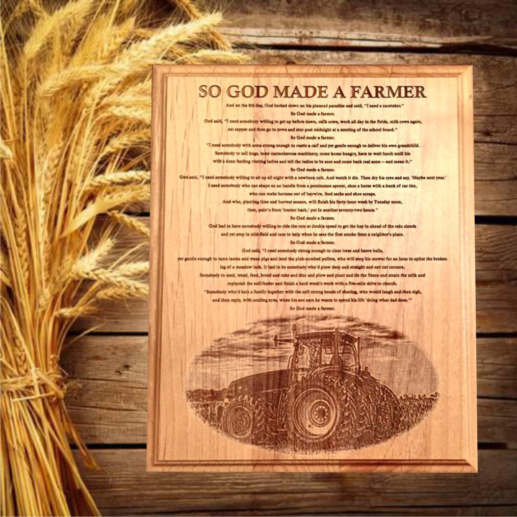 Farming Photo Laser Engraved with So God Made a Farmer Speech