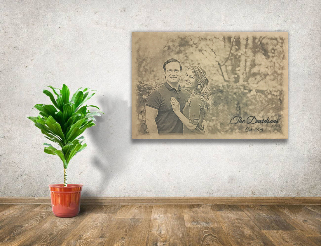 Personalized Wedding Photo Engraved on Leather Wall Decor