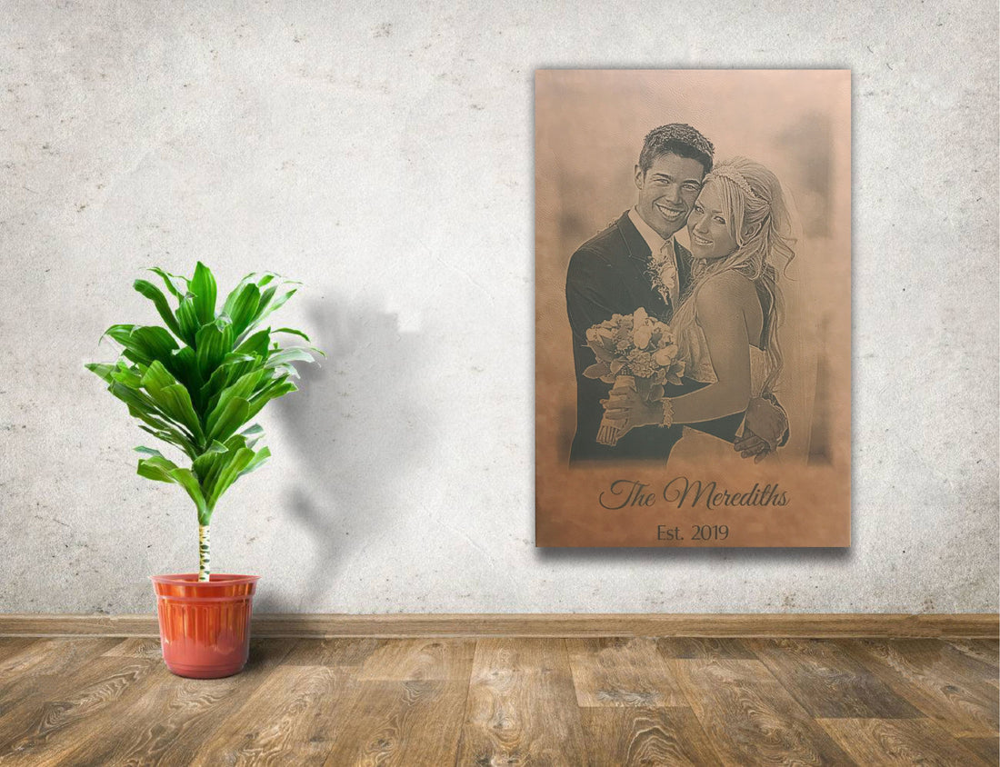 Personalized Wedding Photo Engraved on Dark Brown Leather Wall Decor
