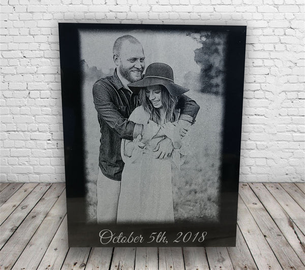 Personalized Wedding Photo Engraved on Black Marble