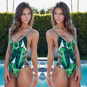 2018 Green Leaves One Piece Monokini Swimwear