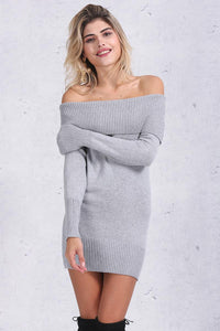 Off-shoulder Knitted Autumn Party Dress