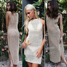 Knitted Beige Sleeveless One Piece Crochet Beach Dress